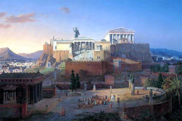 Афинский акрополь и храм Парфенон, какими они были в античности. Реконструкция Лео фон Кленце